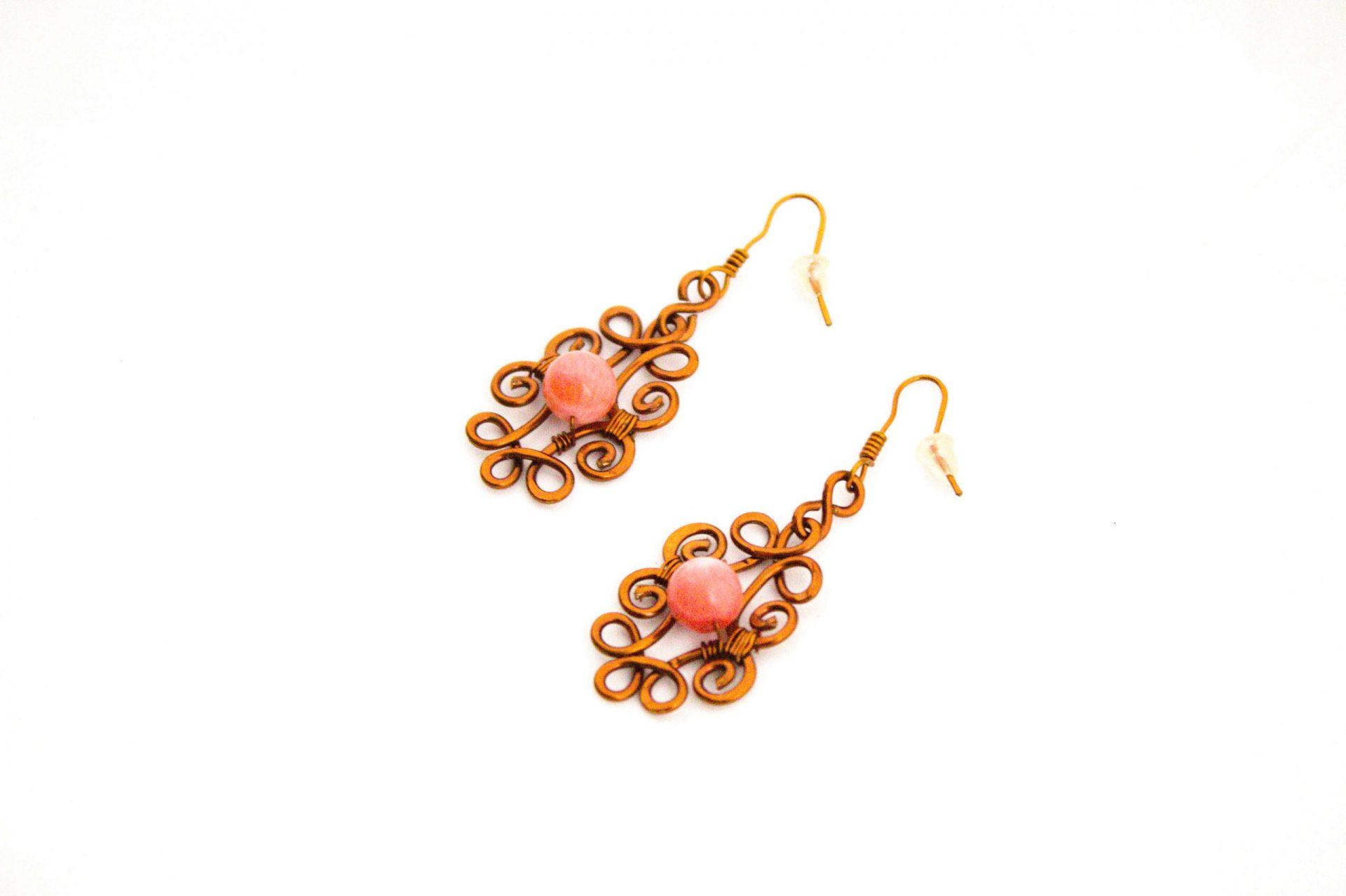 orecchini in rame color pesca-2